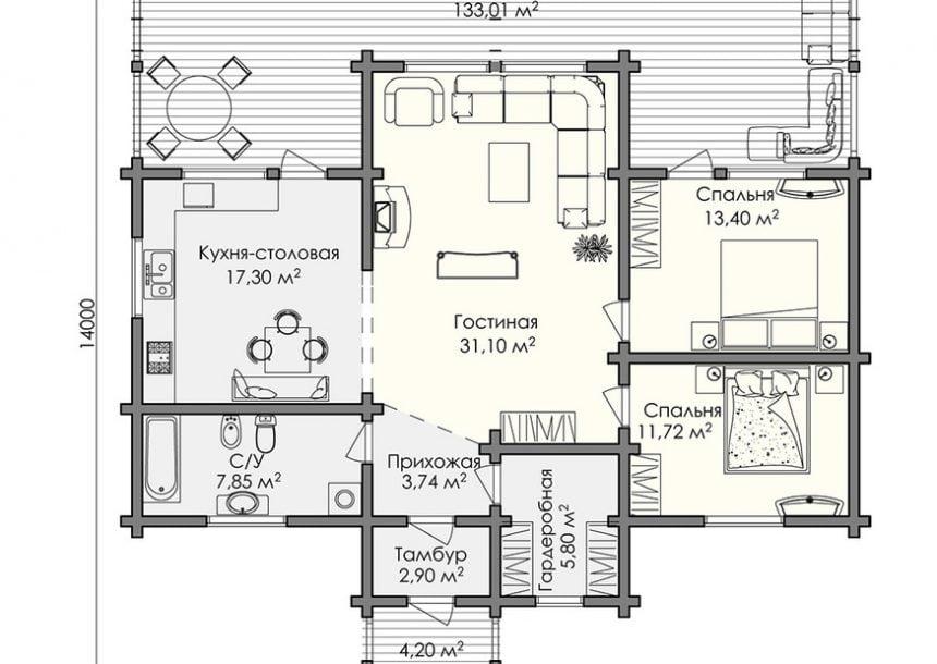 одноэтажные дома из бруса для проживания