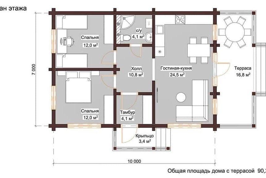проекты одноэтажных деревянных домов