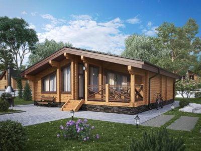 проекты одноэтажных домов из клееного бруса